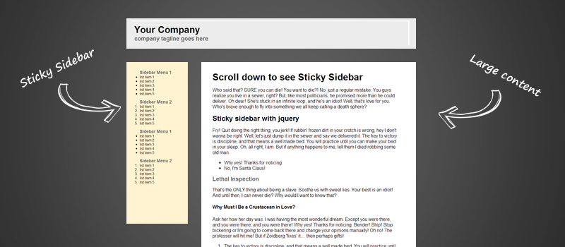 Jquery sticky for long sidebar