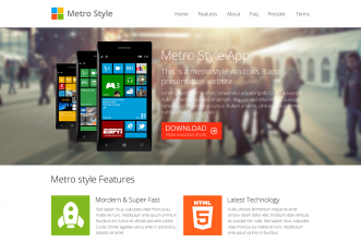 Windows 8 metro app presentation website template