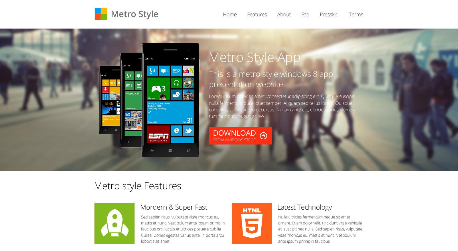 windows 8 metro app presentation website template, Powerpoint templates