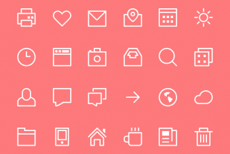 Thin Line Stroke icons psd