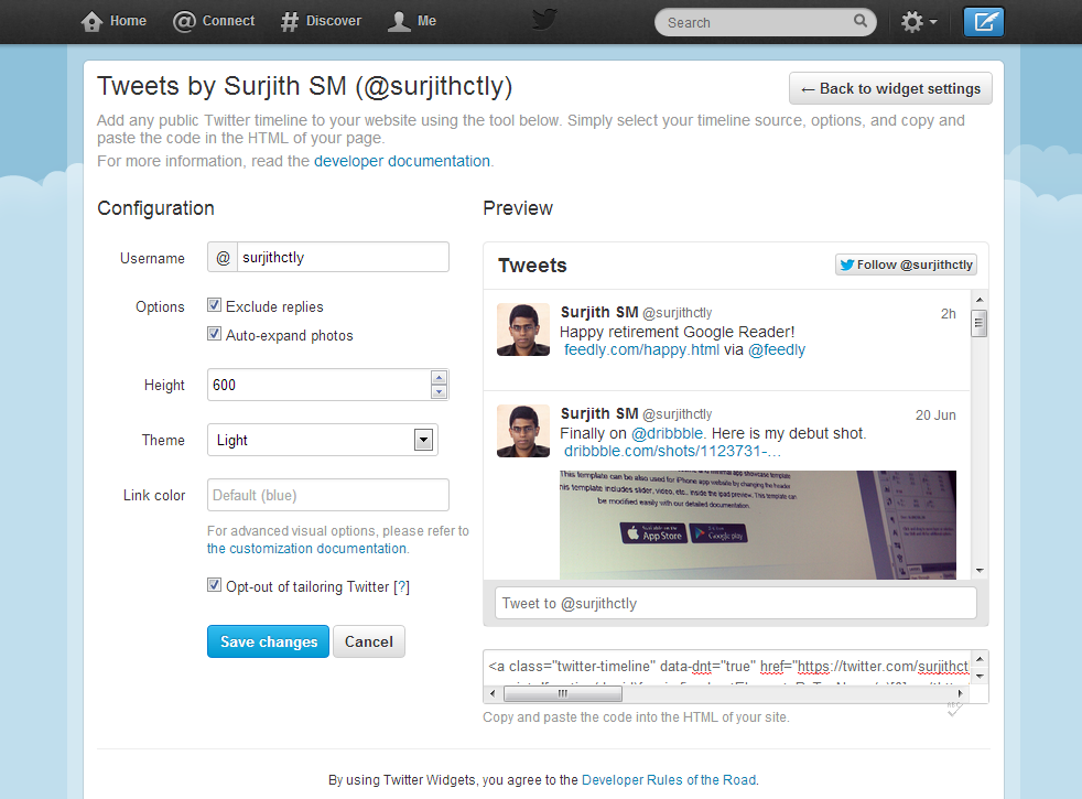 Embed Twitter Feed with new API Support