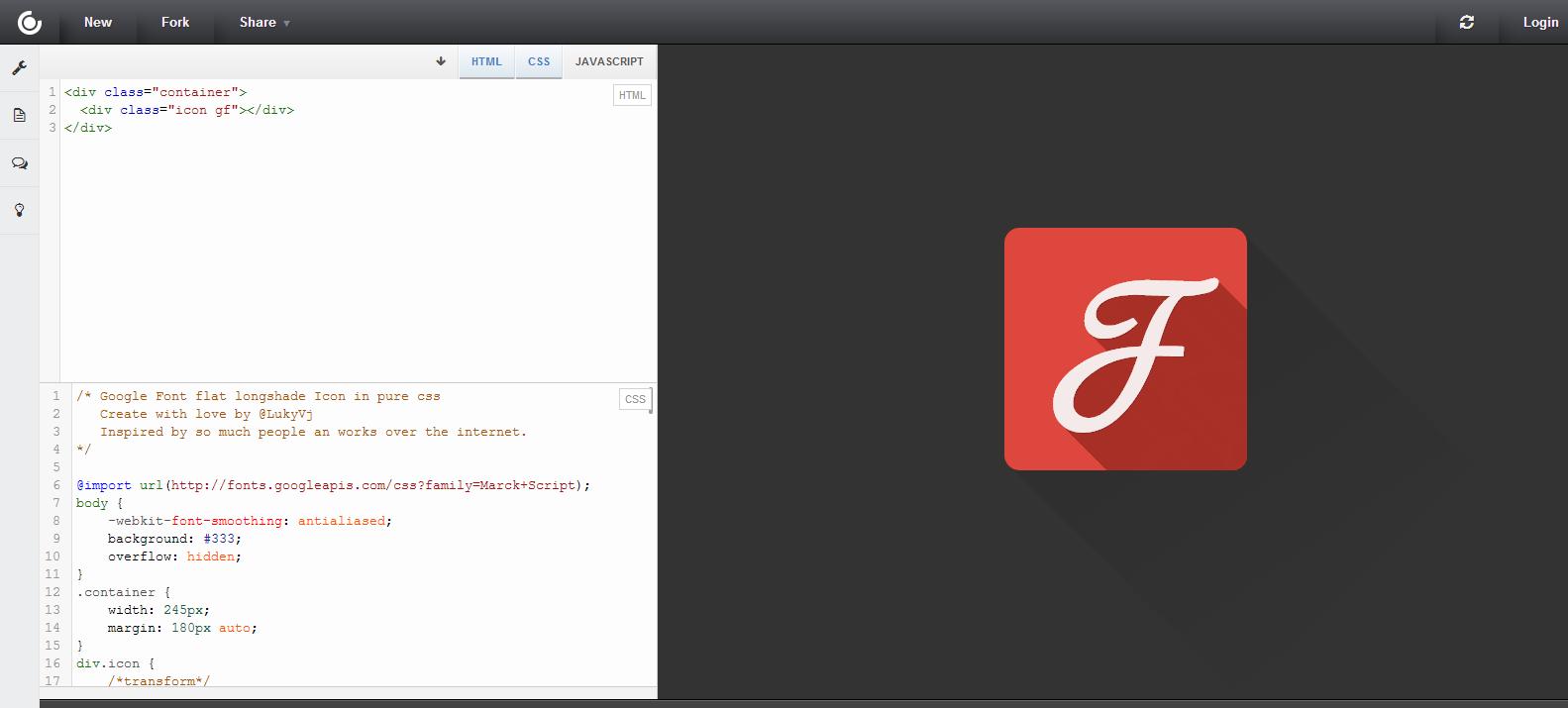 Google Fonts CSS longshade Icon   CSSDeck
