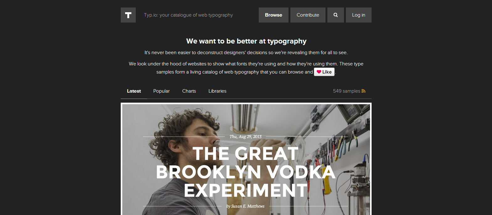Latest typography samples Typ.io