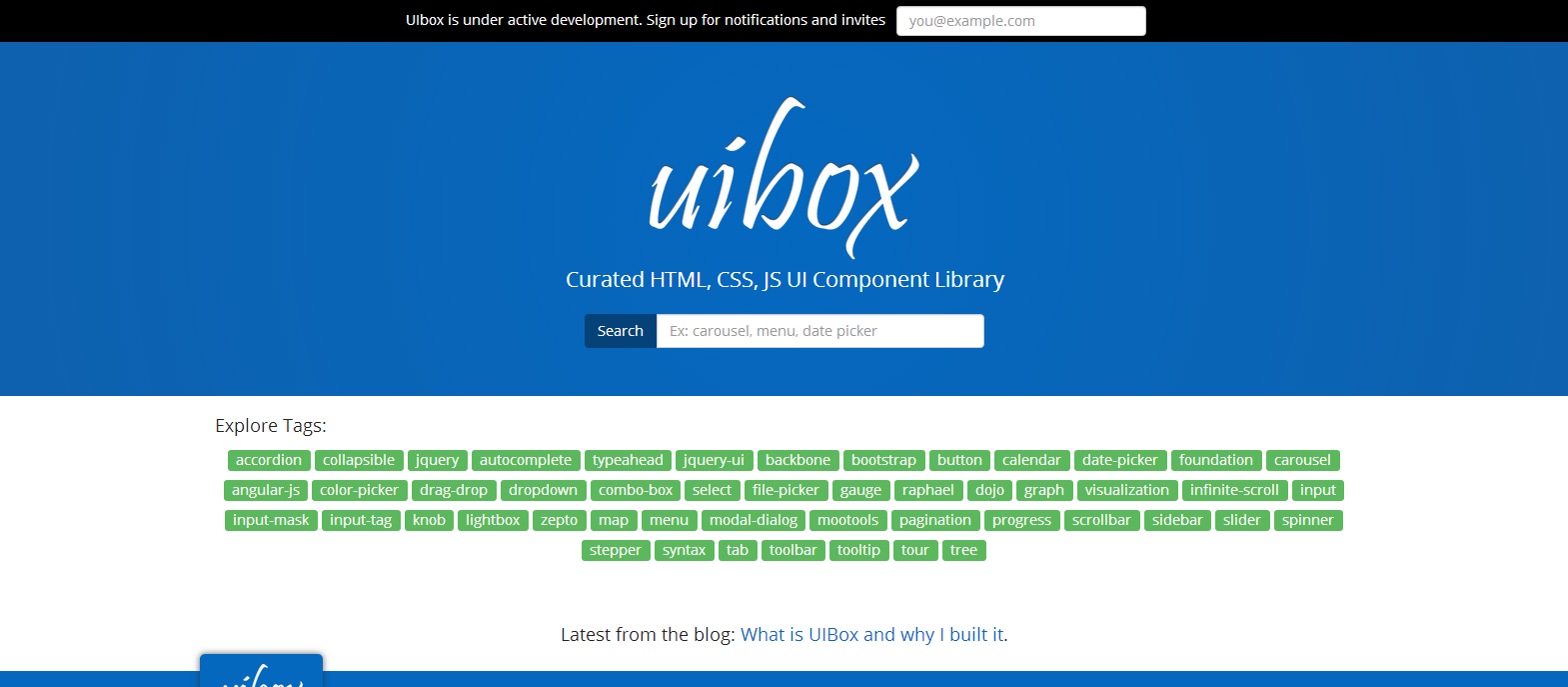 UIBox   Curated HTML  CSS  JS UI Component Library