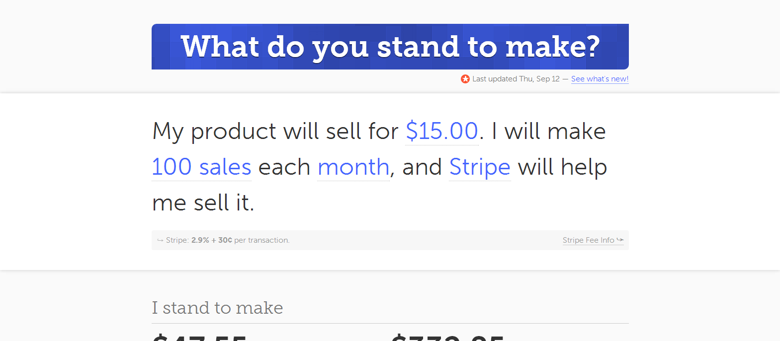 What do you stand to make