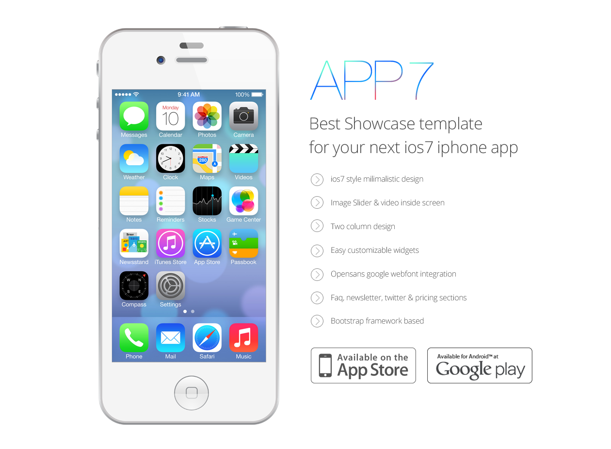 Ios 7 App Landing Template Psd Freebie