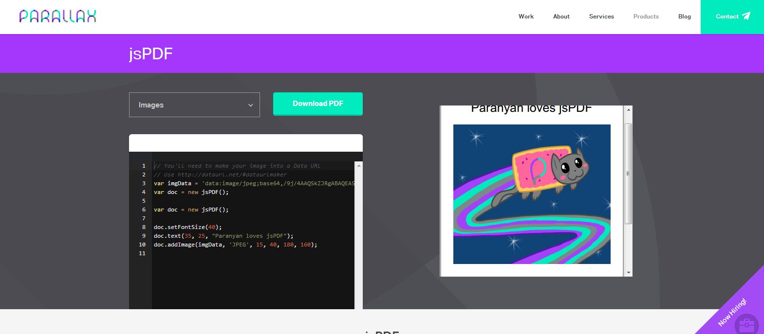 jsPDF   HTML5 PDF Generator   Parallax