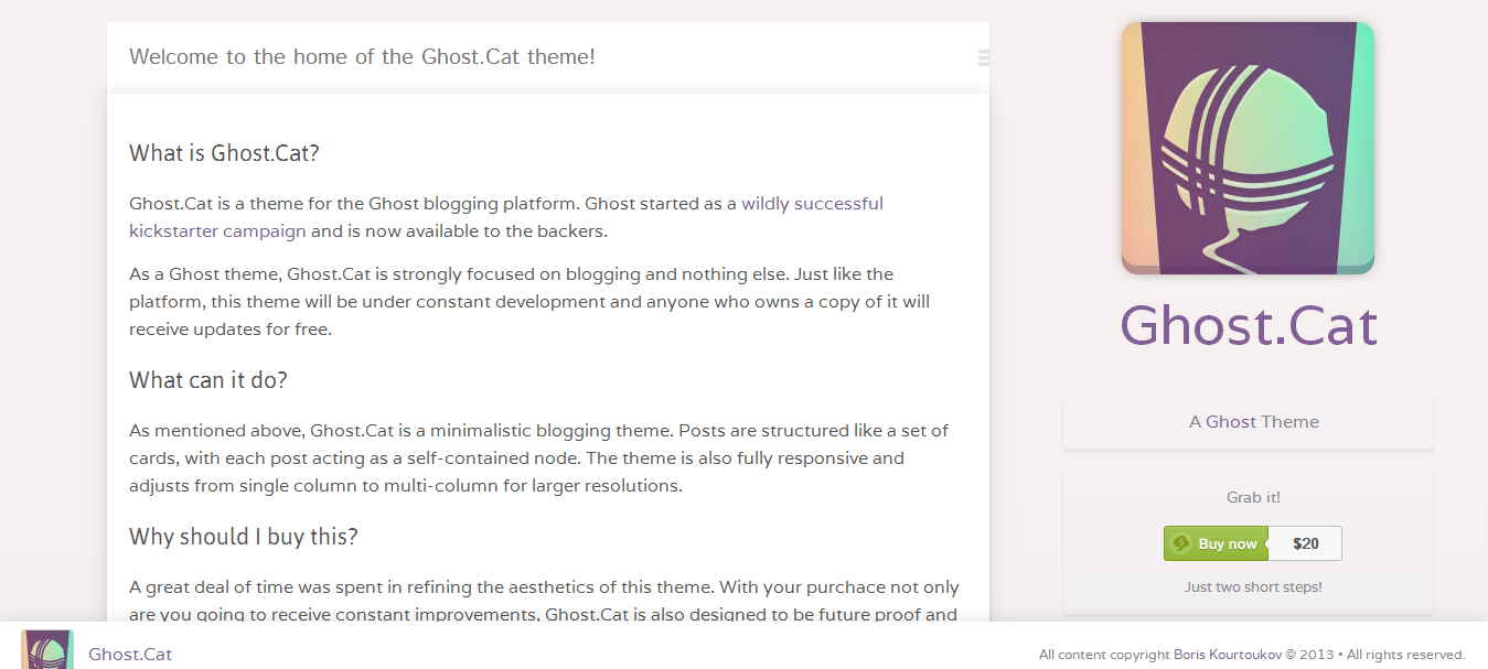 Ghost.Cat Theme for Ghost.org