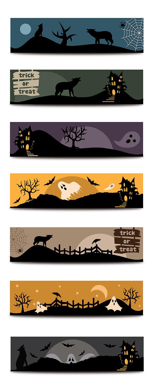 Halloween flat banners