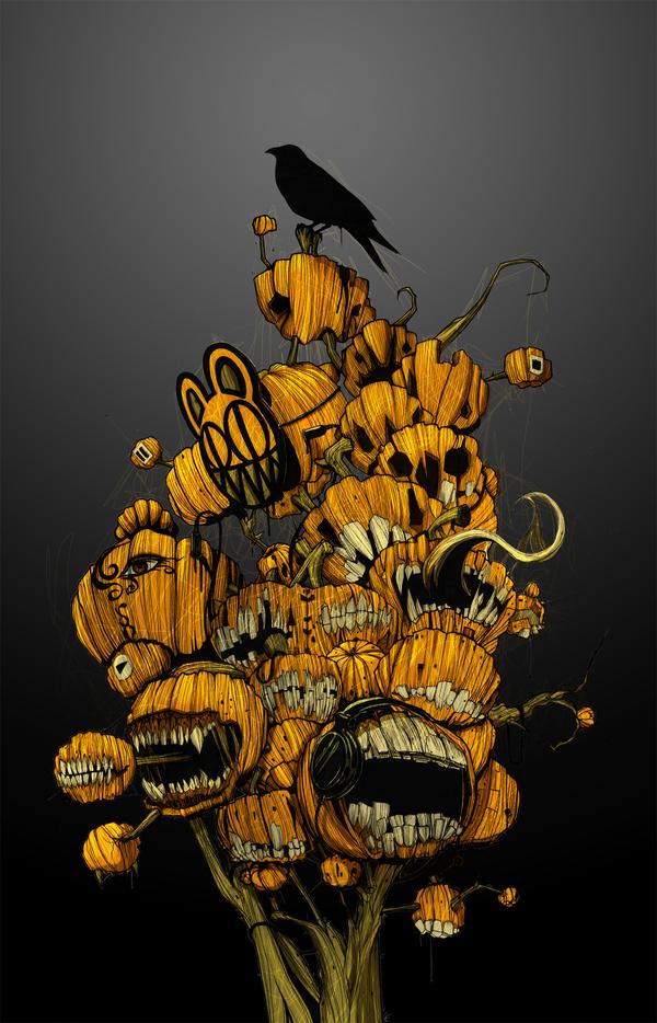 halloween-pumkins-crow