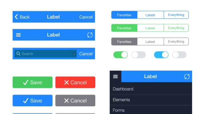 iOS 7 UI Kit essential pack – PSD
