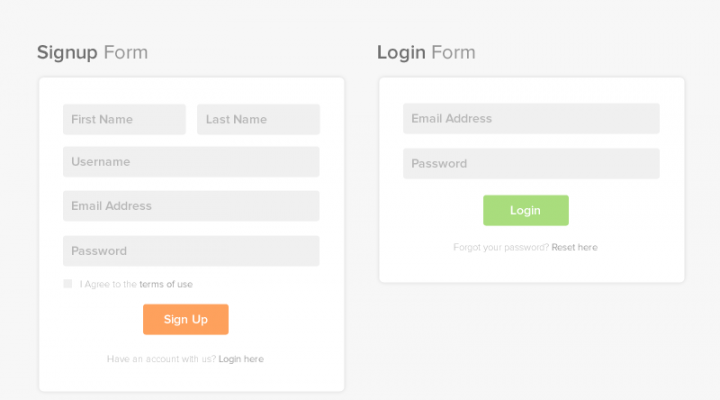 Flat and Minimal Signup and Login form page PSD