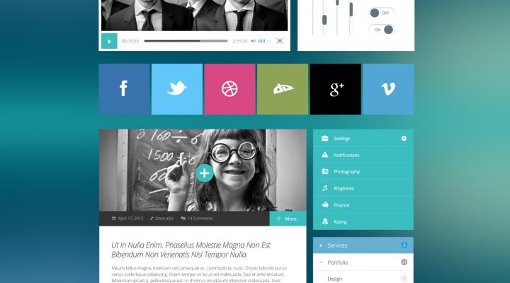 Flat UI Kit Modern Touch PSD