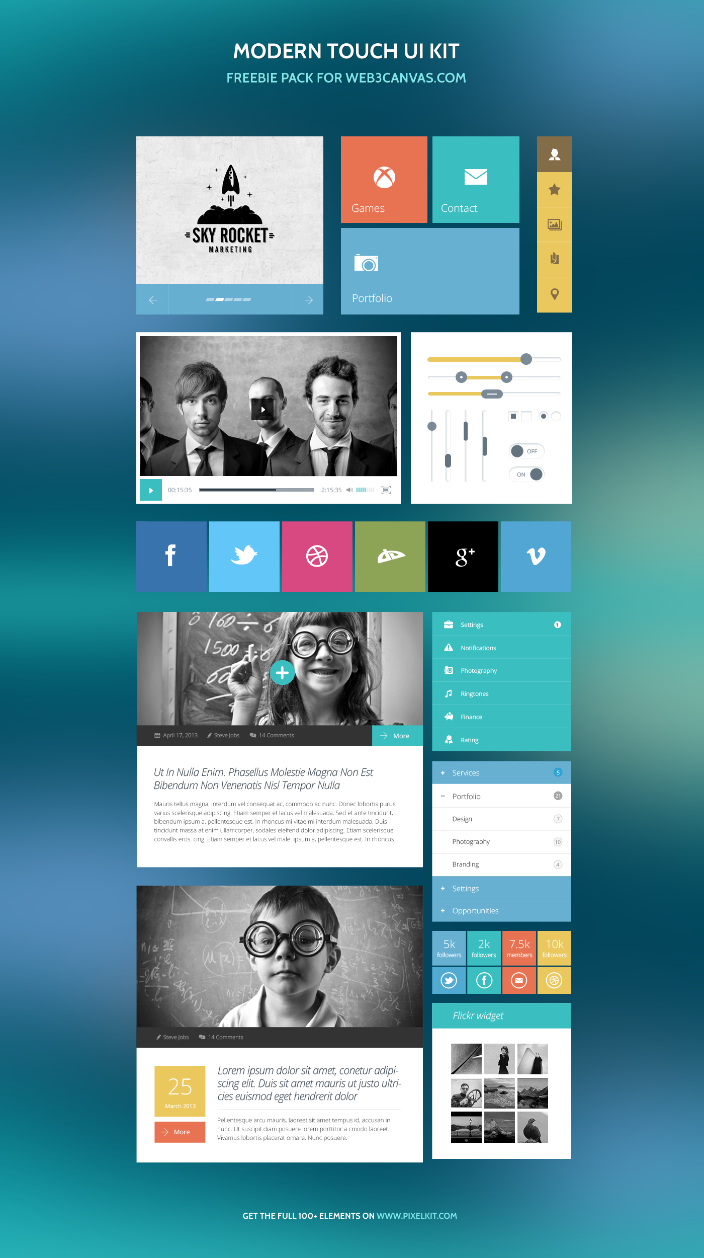 Collection of color palettes photoshop for ui designs web3canvas - Flat Ui Kit Modern Touch Psd