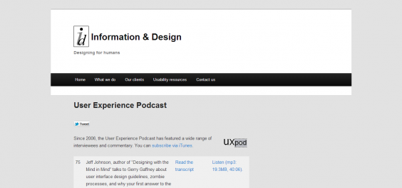 User Experience Podcast   Information   Design