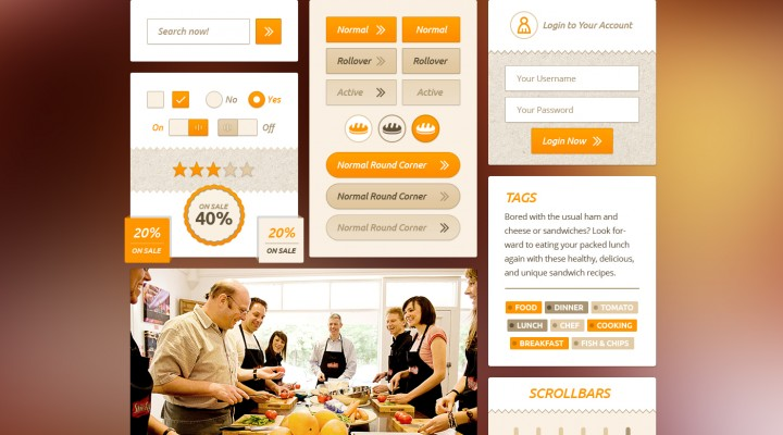 Food UI Kit Free PSD