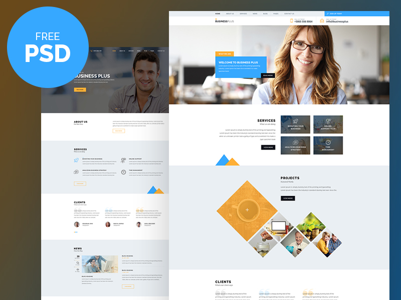 Business plus free psd website template wajeb