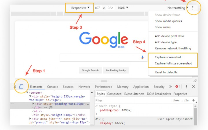 How to take full page website screenshots without any extensions via Chrome