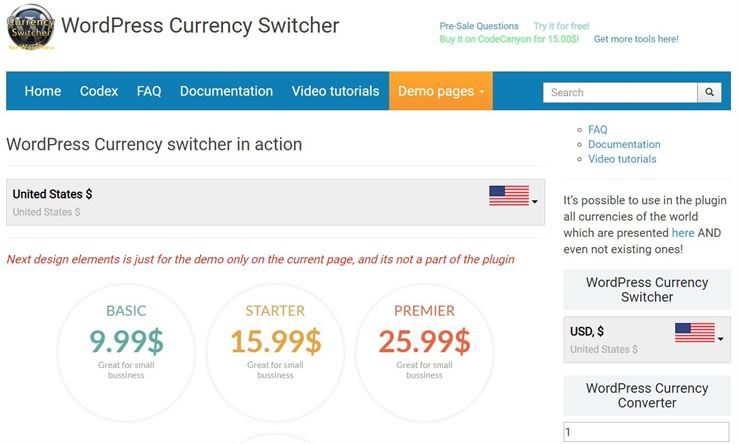 WordPress Currency Switcher Web3Canvas
