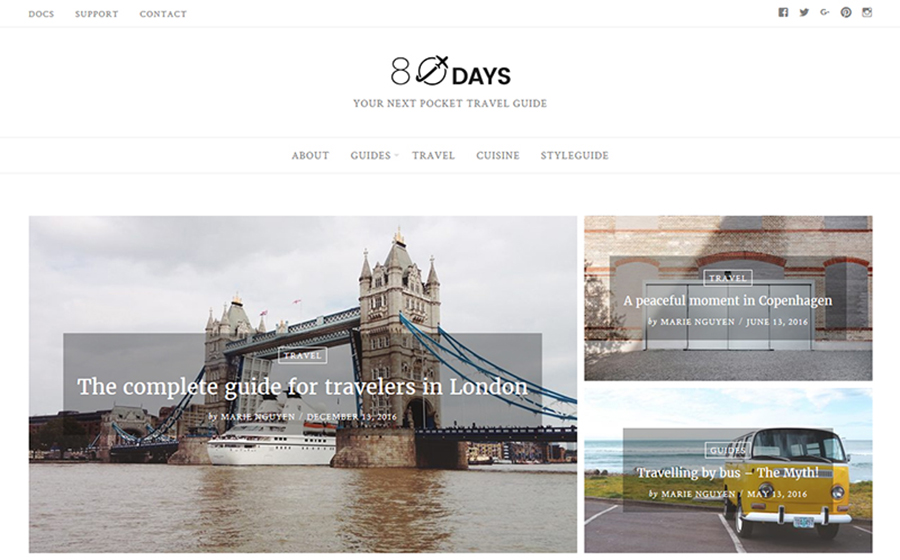 Clean & Minimal Travel Blog Template for WordPress