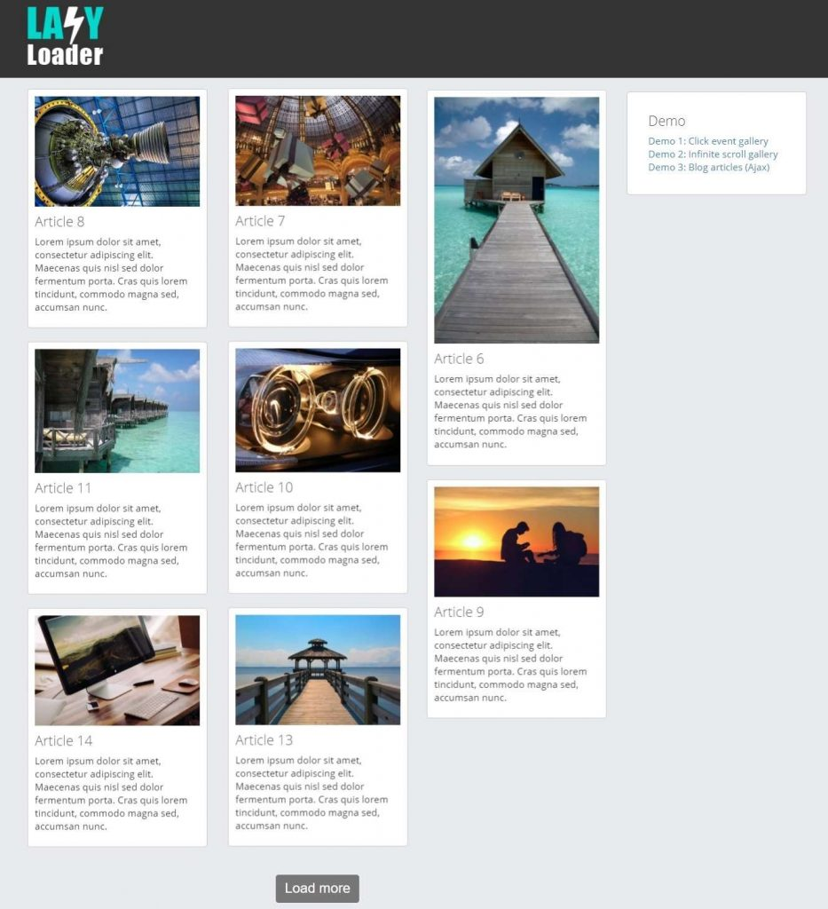 25-Lazy Loader - Infinite scroll JQuery plugin - Web3Canvas