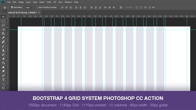 Bootstrap 4 Grid System Photoshop Action 1140px Web3canvas