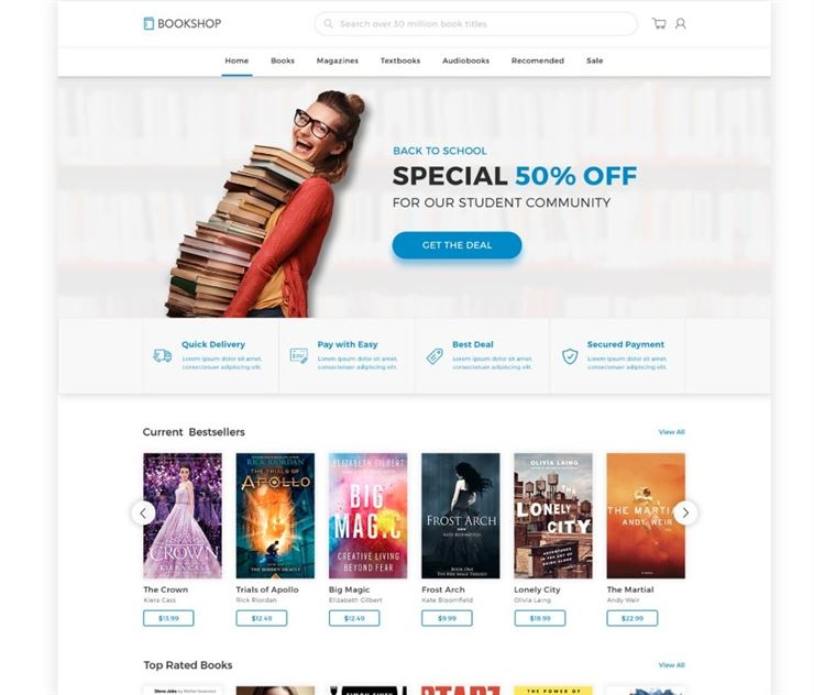 Bookshop - Online Book Store Template Web3Canvas