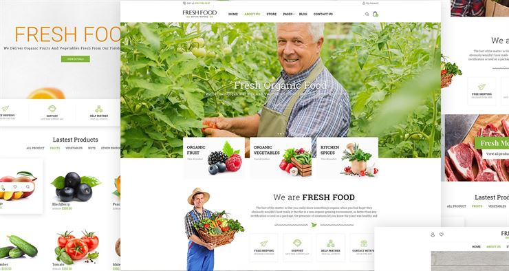 Fresh Food - Organic Food eCommerce PSD Template Web3Canvas
