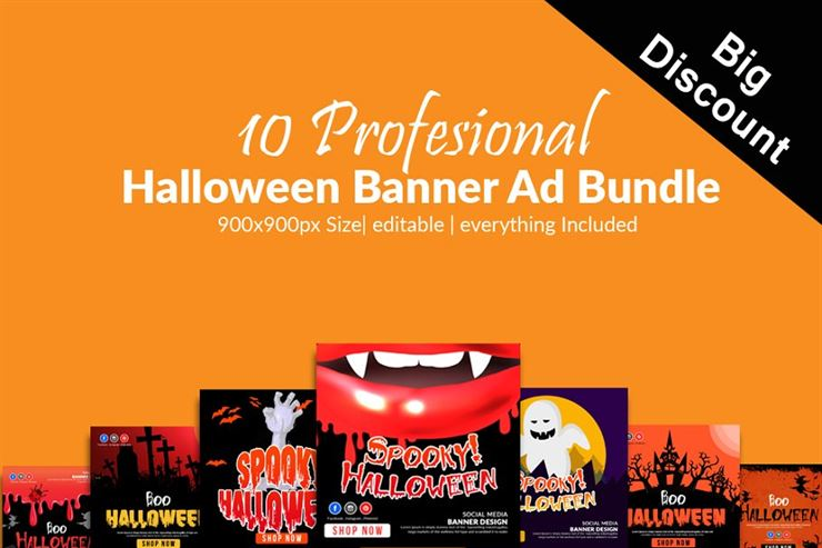 10 Halloween Banners Psd Bundle Web3Canvas