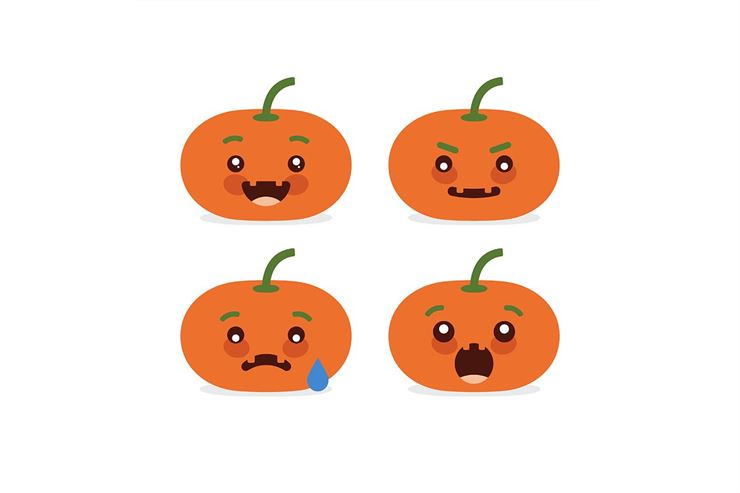 Flat design emoticon halloween pumpkin set on white background.