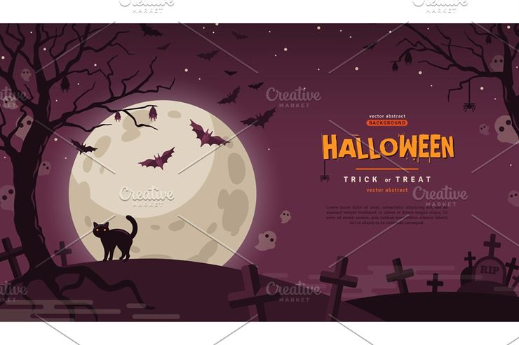 Halloween Banner with Moon Web3Canvas