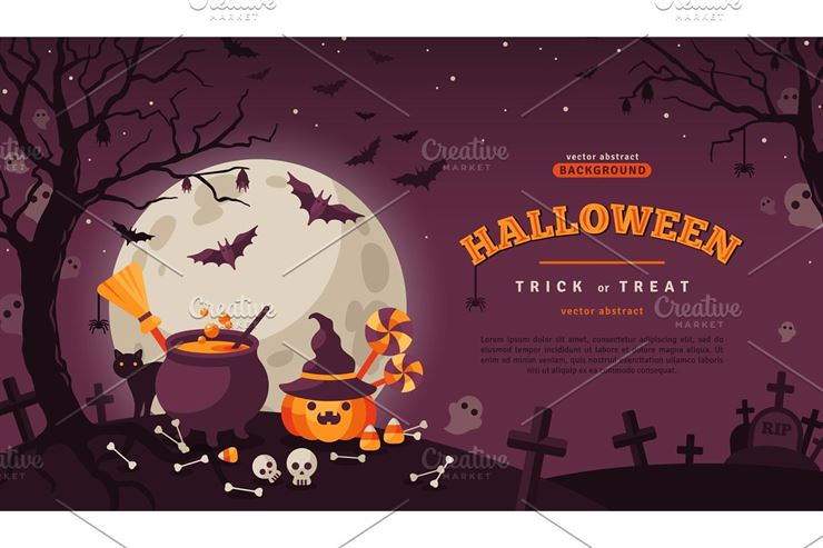 Halloween Banner with Spooky Forest Web3Canvas