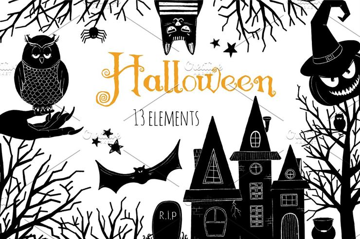 Halloween Black and White Clip Art Web3Canvas