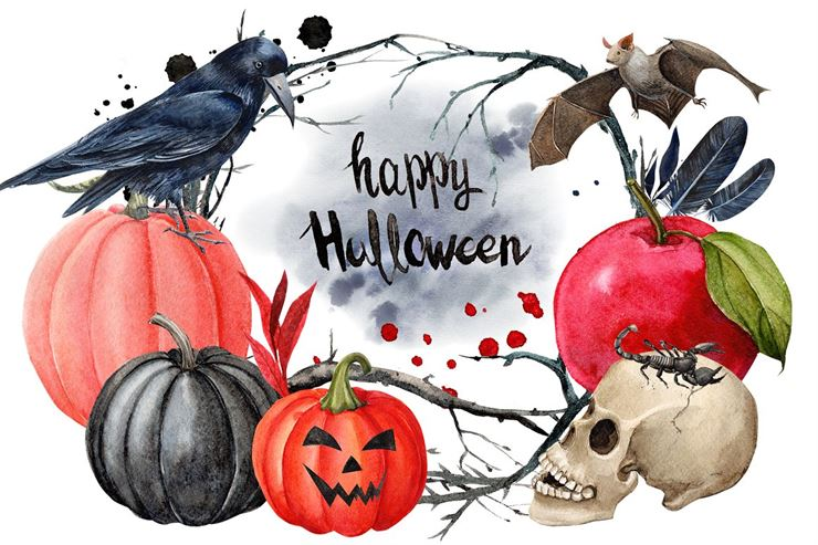 Halloween Clipart Watercolor Web3Canvas
