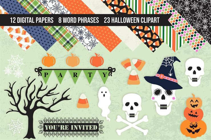 Halloween Clipart and Digital Papers Web3Canvas