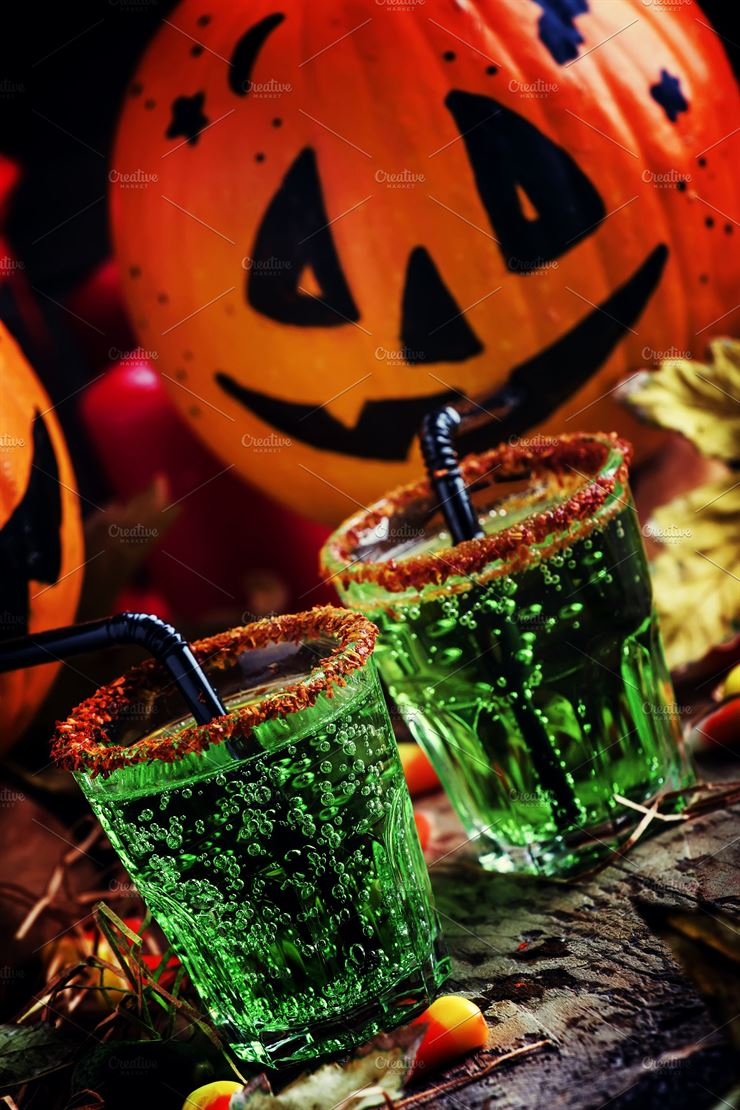 Halloween Composition with Festive Green Drink Web3Canvas
