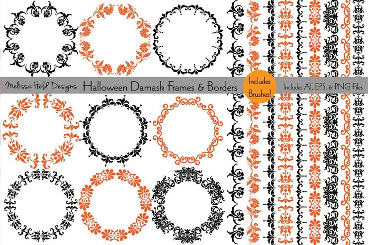 Halloween Damask Frames and Borders Web3Canvas