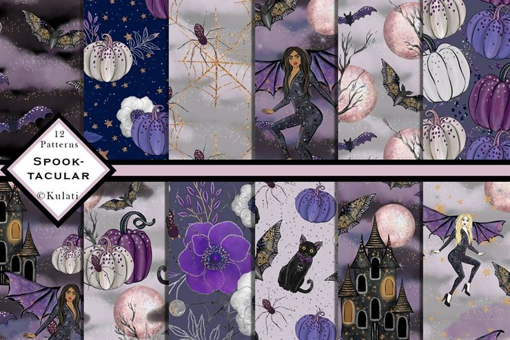 Halloween Digital Papers, Patterns Web3Canvas