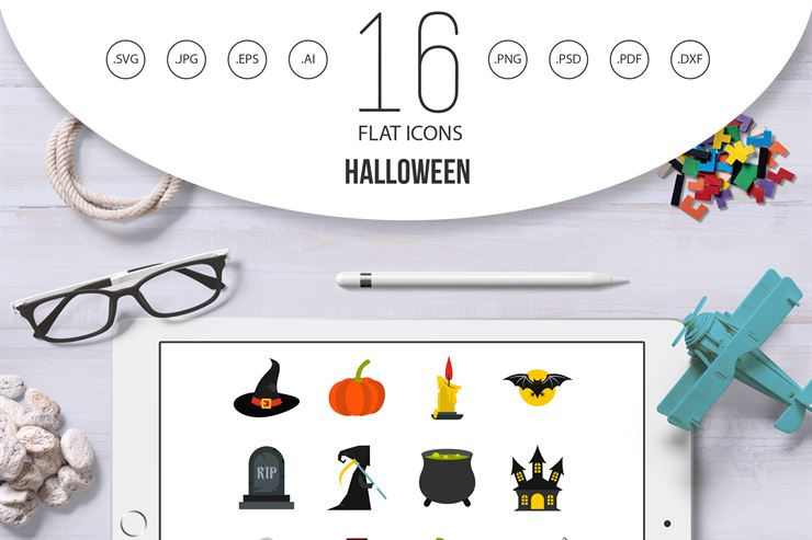 Halloween Flat Style Icons Set Web3Canvas