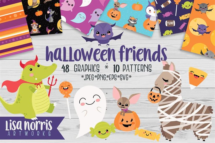 Halloween Friends Clip Art Patterns Web3Canvas