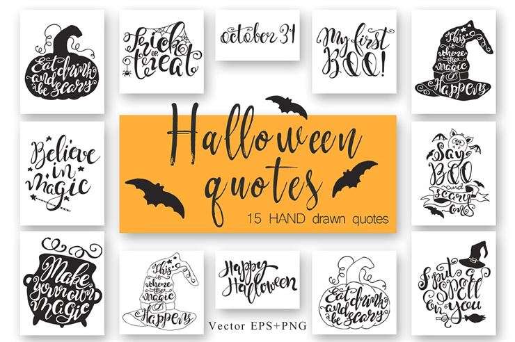 Halloween Hand Drawn Quotes Web3Canvas