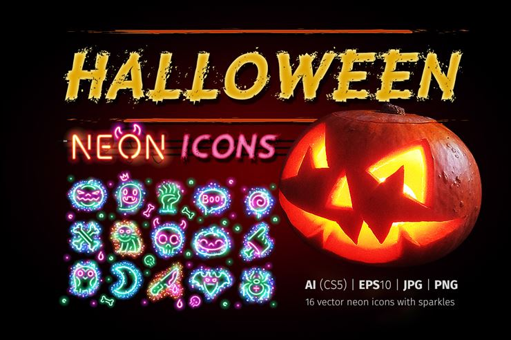 Halloween Icons with Sparkles Web3Canvas