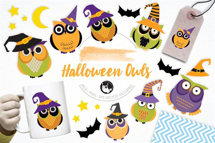 Halloween Owls illustration Pack Web3Canvas