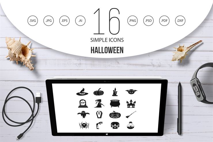 Halloween Simple Style Icons Set Web3Canvas