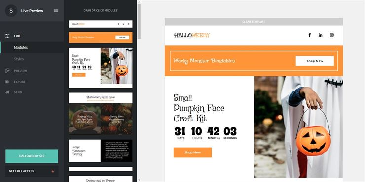 Halloweeny – Responsive Halloween Email + StampReady Builder Web3Canvas