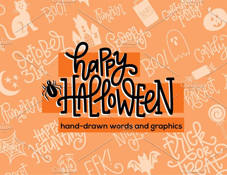 Handdrawn Halloween Graphics + Words Web3Canvas
