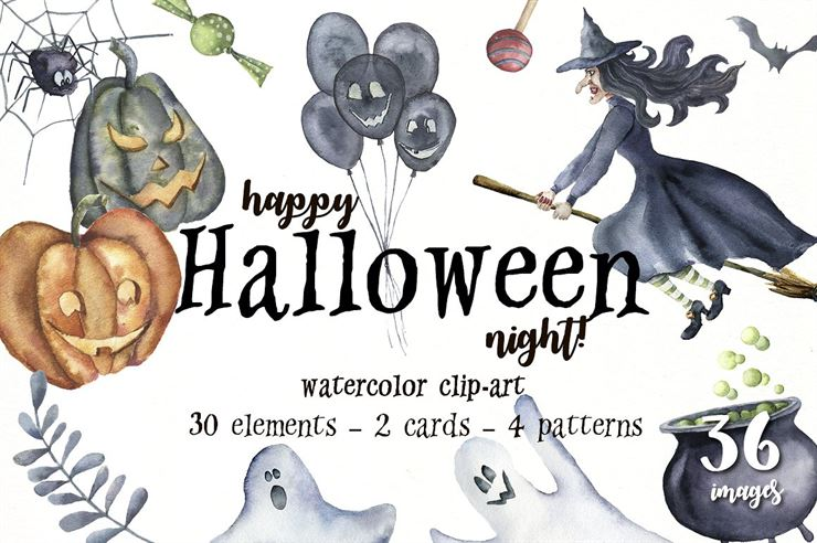 Happy Halloween Night Watercolor Web3Canvas