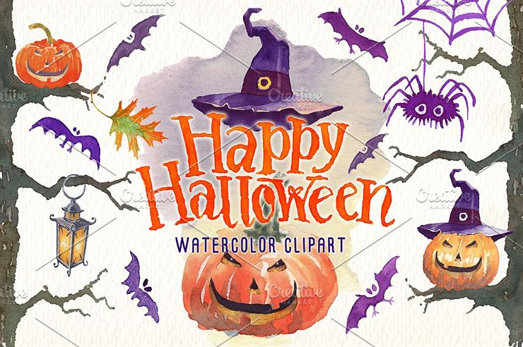Happy Halloween Watercolor Clipart Web3Canvas
