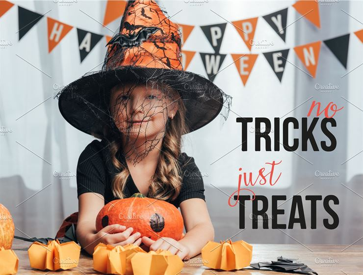 Portrait of Adorable Kid in Witch Halloween Costume Web3Canvas