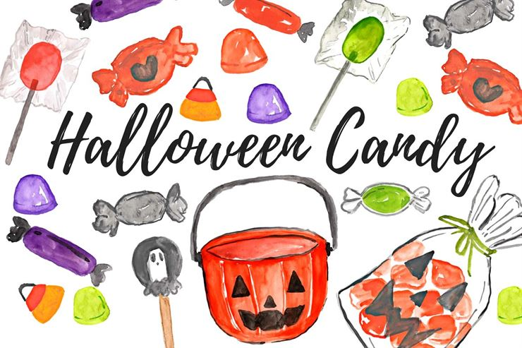 Watercolor Halloween Candy Clipart Web3Canvas